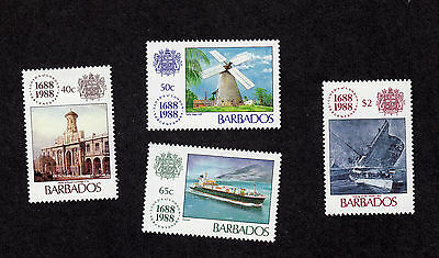 Barbados stamps - complete MLH set of 4 - 1988 - Scott #731-4 - Lloyds issue !!