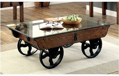 Rustic Wood And Gl Coffee Table Design Ideas