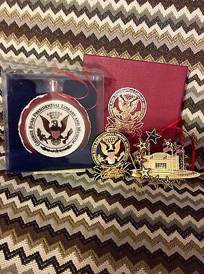 George Bush Library & Museum Set of 3 Collectors Ornaments