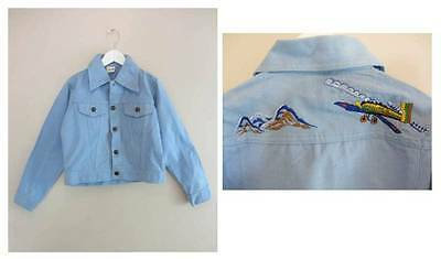 Childrens vintage denim jacket embroidered aeroplane biker jkt age 7 1970's