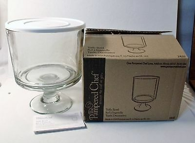 PAMPERED CHEF 3 pc Clear Glass/White Lid TRIFLE BOWL 2832 NEW IN BOX ...