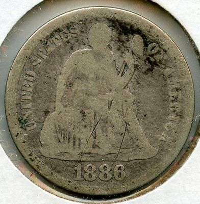 1886 Seated Liberty Dime - Philadelphia Mint - AA823