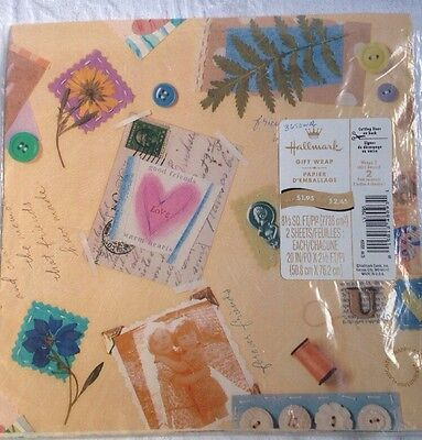 Hallmark Vintage Wrapping Paper Birthday Gift Wrap Flat Sheets Friend