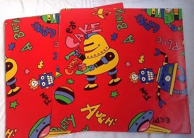 Vintage Wrapping Paper Birthday Gift Wrap Flat Sheets Robot 2 Sheets