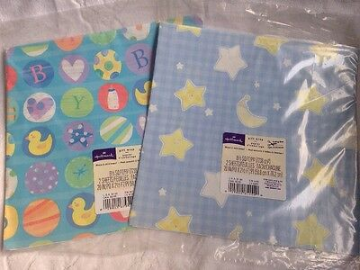 Hallmark Vintage Wrapping Paper Gift Wrap Flat Sheets Baby Shower 2 Packs