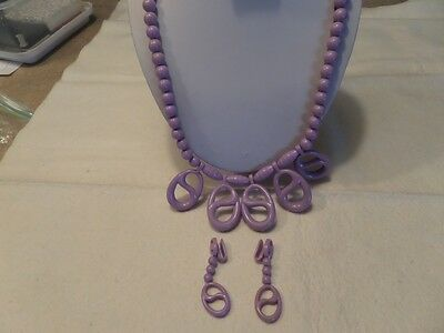 Vintage Purple Plastic Necklace and Earrings