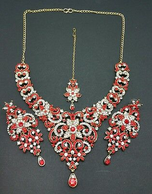 New beautiful Indian bollywood necklace set costume jewellery in red