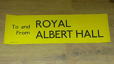 London Transport Routemaster Bus Slipboard Poster: TO AND FROM ROYAL ALBERT HALL