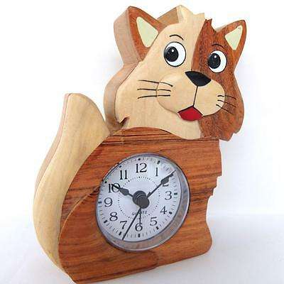 Cat / Kitten Alarm Clock Hand Crafted In Wood . Quartz Movement  By Namesakes