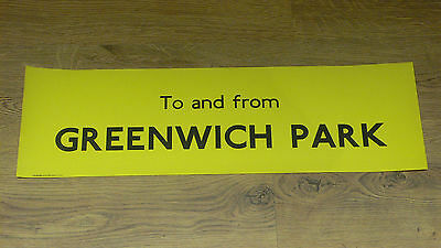 London Transport Routemaster Bus Slipboard Poster - TO AND FROM GREENWICH PARK