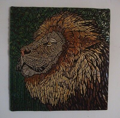 Lion Handcrafted tile art Mosaic picture by British artist Original  animal art