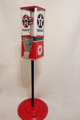 vintage Oak gumball machine themed Texaco gas  + stand