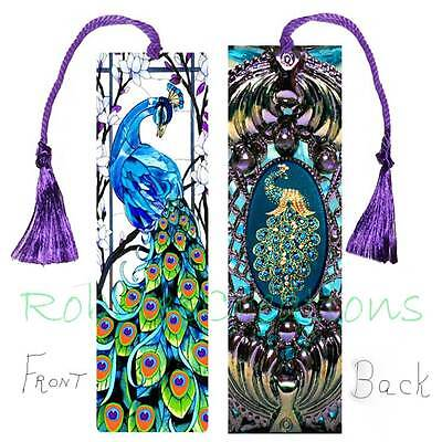 Peacock STAINED GLASS LARGE BOOKMARK Tassel Vintage Style filigree ART Book Card