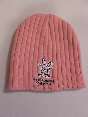 "Happy Bunny ""it's all about me-deal with it."" Pink Knit Hat"
