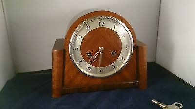 Vintage LARGE Wooden Chiming Mantle Clock working with key art deco