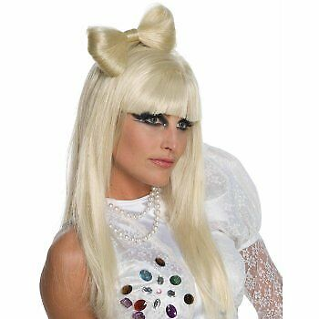 LADY GAGA Blonde Straight with Bow Costume Women Wig