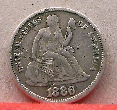 US 1886 Seated Liberty Dime 10c