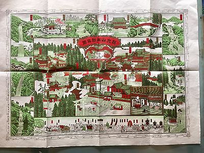 Antique Original 1901 Japanese View And Map Of Nikko City Japan Size 39x54cm