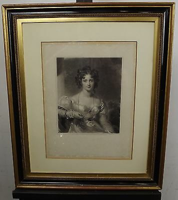 ANTIQUE C19th ENGRAVING - PORTRAIT OF LADY BY SAMUEL COUSINS AFTER THOS LAWRENCE