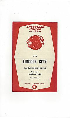 Sheffield United v Lincoln City FA Cup Football Programme 1960/61
