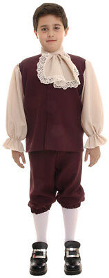Colonial Child Boys Costume Reddish Brown Vest Fancy Dress Up Underwraps