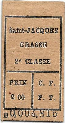 France Railway ticket : Saint-Jacques - Grasse  C.P.P.T. 14 mai ??