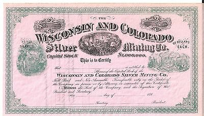 The Wisconsin And Colorado Silver Mining Co....1880's Unissued Stock Certificate
