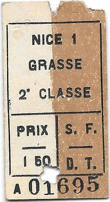 France Railway ticket : Nice - Grasse S.F.D.T. issued and dated