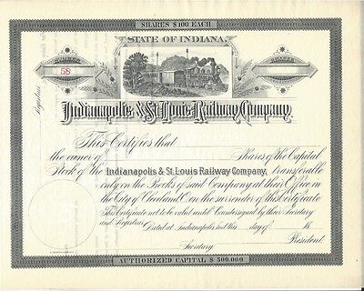 Indianapolis & St. Louis Railway Company.....1800's Unissued Stock Certificate