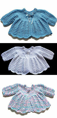 NEW Hand Knitted Matinee Coat/Cardigan Age 0-6 Months