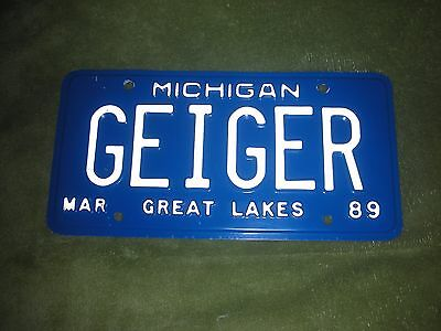 "1989 Michigan Vanity License Plate ""GEIGER"" Free Priority Shipping!!"