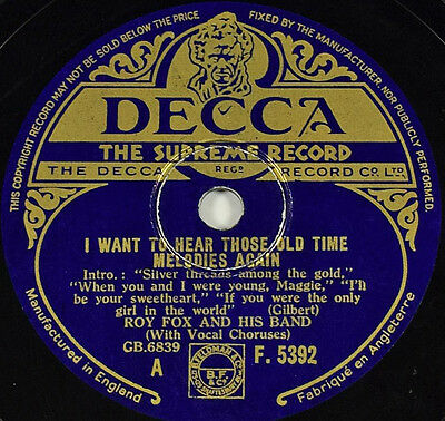Schellackplatte - Roy Fox - I Want To Hear Those Old Time… gramophone record