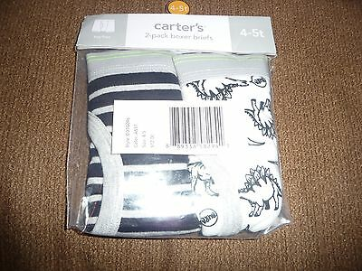 New Carter's 2 Pack Boy Boxer Briefs Underwear size 4-5T NWT dinosaurs