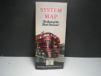 Vintage Lehigh Valley Railroad Route of the Black Diamond Map