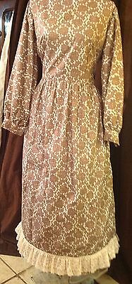 Ladies Brown Flowery Cotton Dress Western or other Re-enactment