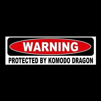 "Funny ""PROTECTED BY KOMODO DRAGON"" window decal BUMPER STICKER, sign, lizard"