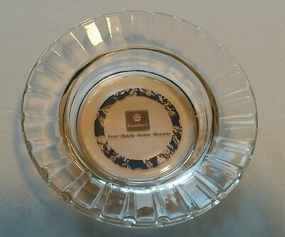 Vintage clear glass ashtray with Logo Comfort Inn Hotels Suites Resorts, 1970's