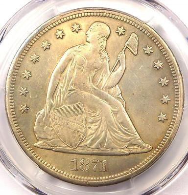 1871 Seated Liberty Silver Dollar $1 - PCGS XF Details - Rare Early Date Coin!