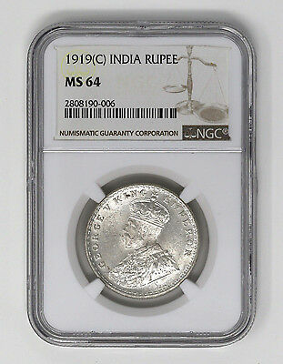 1919-C India Rupee. NGC MS 64. NICE LUSTER! [#60]