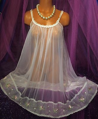 Vintage Peignoir Sweep Nylon Embroidered Gown Sheer Chiffon Victorian Lace S M