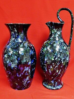 "Signed Cole 18"" NC Pottery Vase & 22"" Rebecca at the Well Ewer - Cobalt"
