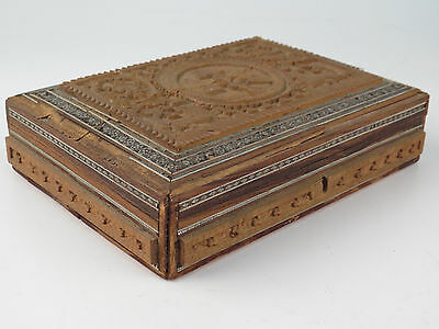 Antique Hand Carved Wood Box Inlay As Is