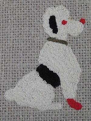 Vintage Linen White POODLE Embroidered Placemat Table Top