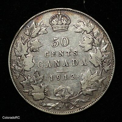 1912 Canada Silver George V 50 Cents - Fine