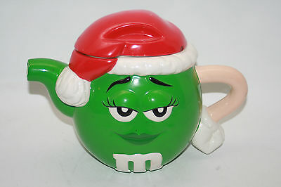 M&M Candy Green Holiday Teapot Ceramic Christmas