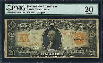 Fr. 1181 1906 $20 Large Size Gold Certificate Pmg - Very Fine- 20