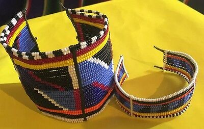 Authentic Kenyan Maasai Tribal Beaded Cuffs Museum Quality - Clasps Need Repair
