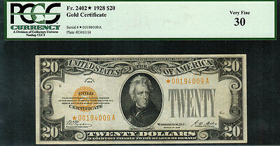 1928 $20 Gold Certificate FR-2402* - Star Note - Graded PCGS 30 - Very Fine