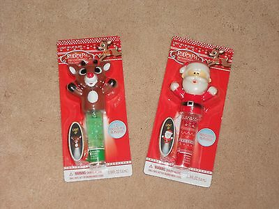New, Set Of 2 Rudolph The Red Nosed Reindeer Light Up Lip Gloss, Rudolph & Santa
