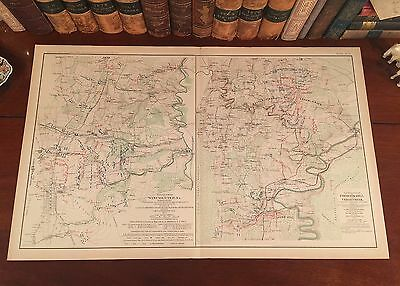 Original Antique Civil War Map BATTLE WINCHESTER Virginia CEDAR CREEK Strasburg